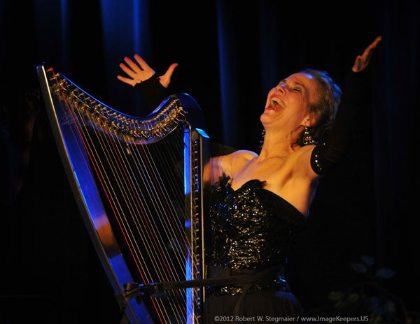 "Deborah Henson-Conant plays CAMAC ""DHC Light"" Electric Harp at the Center for Arts in Natick / PHOTO: ©2012 Robert W. Stegmaier"