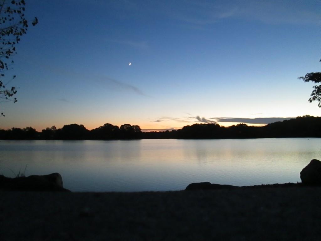 Spy Pond wth tiny moon