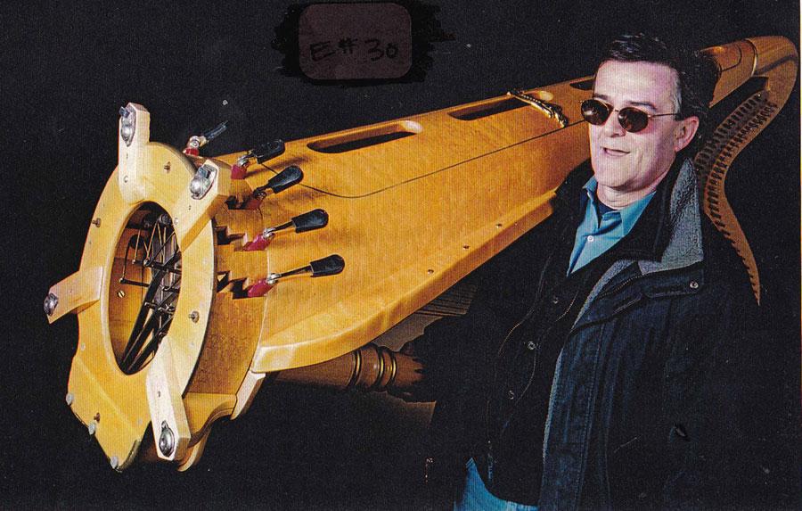 Martin Jarman carrying Harp - (photo thanks to Cynthia Price-Glynn)