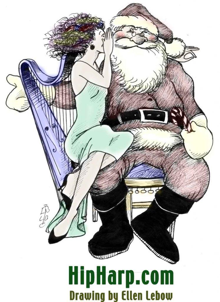 Santa & the Harp Lady (drawings by Ellen Lebow)